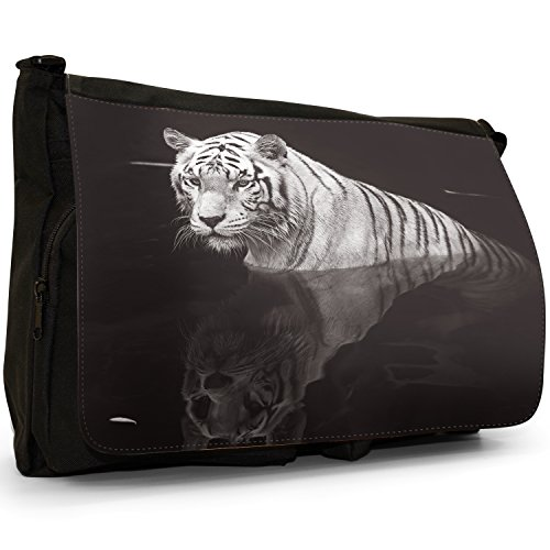 Fancy A Bag Borsa Messenger nero Tiger White Tiger In Water With Reflection