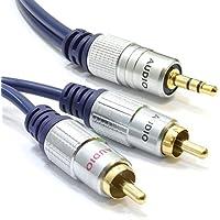 kenable - Cavo stereo HQ OFC da jack maschio 3,5 mm a 2 RCA maschio, contatti placcati in oro, 1m - Fono Rca Audio Stereo
