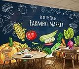 Papel Pintado 3D Pizarra Dibujada A Mano Wallpaper Mural Frutas Verduras Supermercado Frutería Decoración De Pared