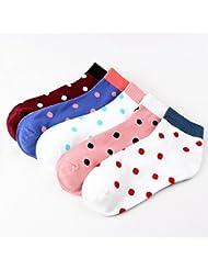 XIU*RONG Cómoda Lady Cotton Socksrojo Ola Blancabare Socks (10 Pares)