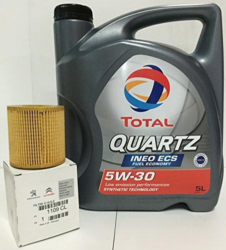 Pack Total lubrificante Total Quartz Ineo ECS 5W-30 + filtro olio 1109 CL originale per motori a benzina