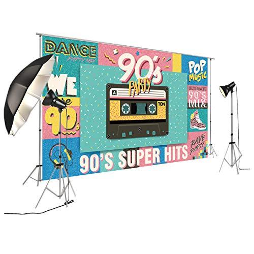 FiVan Disco Party Banner Hintergrund - blendfreie Rückseite aus Vinyl bis 80er 90er Jahre Party Dekoration Fotobooth Hintergrund, XT-7376, 79