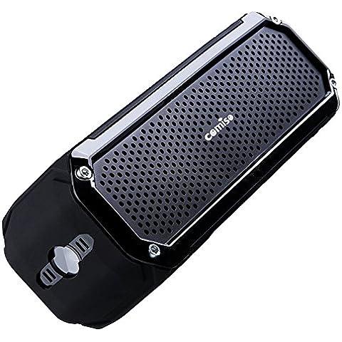 Altavoz Bluetooth Estéreo 10W Premium Dual-Drivers, con Radiador Pasivo, COMISO Altavoz Portatíl Inalámbrico 15 horas para HuaWei, XiaoMi, Samsung, Nexus, HTC, iPhone y iPad - (Negro brillante)