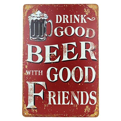 Con buenos amigos se bebe buena cerveza.-Da a tus amigos una gran sorpresa y compra el cartel de chapa original con diseño de cerveza.Ya sea para cumpleaños, día del padre, Navidad o fiesta de inauguración.Con el cartel de chapa tomarás la decisión c...