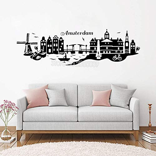 Schöne Amsterdam Skyline Wandaufkleber Netherland City Decal Kunst Städte Gebäude Design Vinyl Removable Wall Decals 141 cm x 42 cm