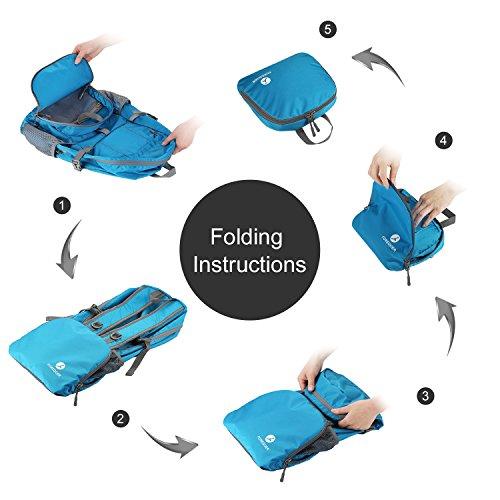 Foregoer 30l Ultra Zaino Leggero Idrorepellente Nylon Pieghevole Daypack per Viaggio Hiking - Nero Blu