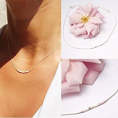Collier fin choker, chaine serpent argent massif 925, et perles miyuki rose pâle et blanc