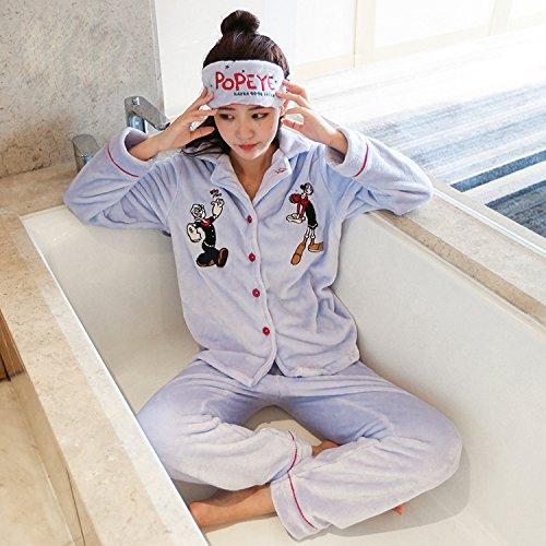 Herbst und Winter Hause Service Flanell Weihnachten Cartoon Damen Langärmelige Pyjamas Anzug Brille,Violett,L