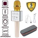 HAISHULIN Wireless Mikrofon Bluetooth, Handheld Karaoke-Mikrofon Lautsprecher, tragbare KTV-Player Startseite KTV Music Machine System für iPhone / Android Smartphone / Tablet kompatibel (Q9 Gold)