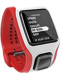 TomTom Runner Cardio - Reloj GPS para correr, color blanco y rojo