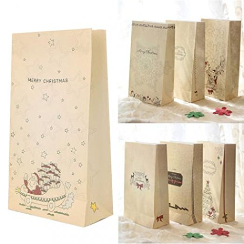 Globaldeal diretto 8PCS Kraft Paper Holiday Cookies present Gift bag Xmas party wedding Candy bag