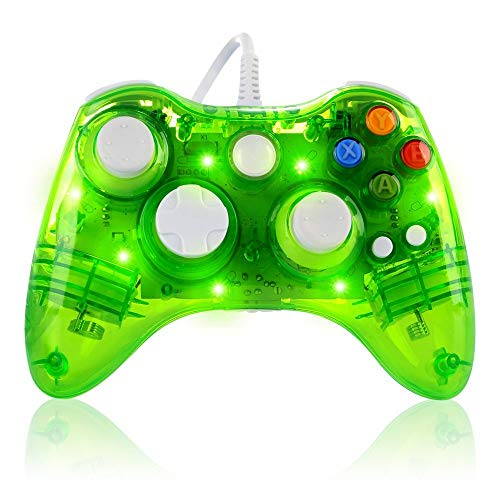 Kabelgebundener Gamecontroller für Microsoft Xbox 360 Konsole/PC Windows7/8/10, transparente Bunte LED-Lichter Grün grün