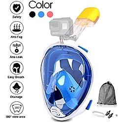 Jasonwell Masque de Plongée Masque Snorkeling Plein Visage 180° Visible Anti-buée Anti-Fuite sous-Marine Snorkel Masque pour Enfants et Adultes