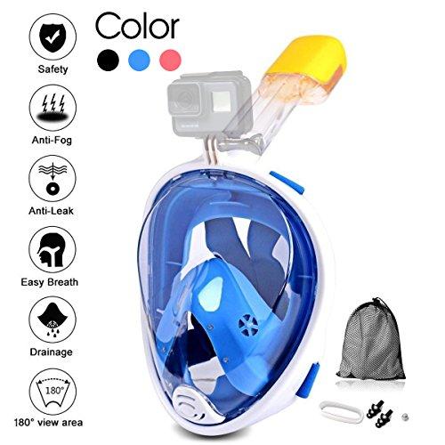 Jasonwell Panorama Vollmaske Schnorchelmaske Tauchmaske Vollgesichtsmaske mit 180° Sichtfeld, Dichtung aus Silikon Anti-Beschlag & Wasserdicht für Kinder und Erwachsene Anti-Fog Anti-Leak(S/M) -