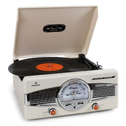 auna MG-TT-82C tocadiscos retro (33/45 RPM, altavoces integrados, radio FM/AM) - beige