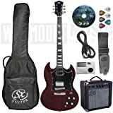 SX SG Electric Guitar Pack with amp, gig bag and accessories INCLUDES PROFESSIONAL SET UP