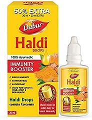 DABUR Haldi Drops- 50% Extra: Curcumin Extract for Natural Immunity Boosting & Fighting Inflammation: (20m
