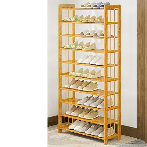 Zapatero de estantes apilables de 10/niveles de acero inoxidable /99,4 x 28,25 x 176,5 cm./Color negro Capacidad para de 50 pares de zapatos/ Halter