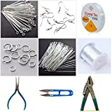 #6: Jewellery making DIY essential combo set (9 items)- includes beading wires, tools, findings, craft cutter - Silver