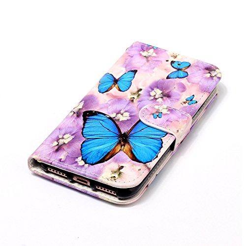 Sunroyal Flip Handyhülle für iPhone 7 4.7 zoll Diamant Lederhülle Bookstyle Tasche PU leder Hülle Bling Schutzhülle mit Standfunktion Magnetverschluss und Kartenfächern ID Card Handytasche Multifunkti Schmetterling