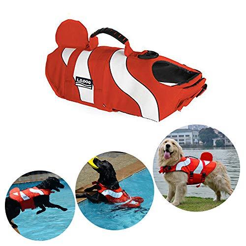 HomeYoo Schwimmhilfe für Hunde, Hundeschwimmweste, Poppypet Doggy Aqua-Top Schwimmweste Haustier Hunde-Schwimmweste mit überlegenem Auftrieb und Rettungsgriff (M, Orange) -