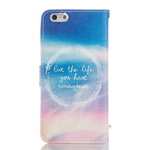 ISAKEN Custodia iPhone 6 Plus, Cover iPhone 6S Plus, Elegante borsa Custodia in Pelle Protettiva Flip Portafoglio Case Cover per Apple iPhone 6 Plus (6 5.5) / con Supporto di Stand / Carte Slot / Chi circle LIFE