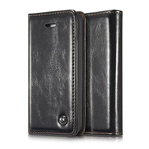 iPhone 5S Hülle, CaseMe PU Leder schutzhülle Handy Tasche Hülle case cover mit Karte Halter Magnetverschluss für iPhone SE/5/5S (schwarz) (5s-cover I Phone Karte Mit Halter)