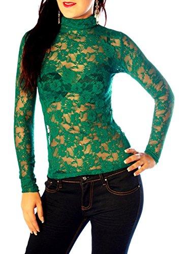 Easy Young Fashion Damen Langarm Spitzenshirt Rollkragen Tealblue