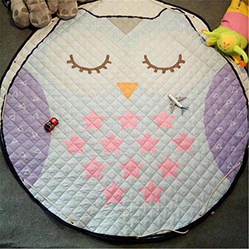 Preisvergleich Produktbild yue-tapis Kinderzimmer Spielmatte Organizer Spielzeug Teppich Picknick rund und tragbar Modern Eule