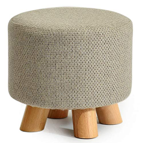Hocker Fußstütze Sitzbank Massivholz Runden Hocker Hocker Schuh Bank Kleine Hocker Mode Kreativität Sofa Hocker Tuch Ottoman Pouf ZHAOFENGE- (Color : Beige) (Pouf Bank Hocker)