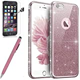 Coque iPhone 6,Coque iPhone 6S,ikasus Strass bling diamond cristal Sparkle glitter paillettes Clear Transparent Silicone Gel TPU Cadre Brilliant Chromé Case Coque Housse Étui pour iPhone 6S/6,Or rose