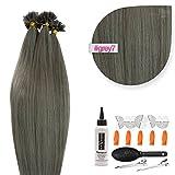 Dunkelgraue Bonding Extensions aus 100% Remy Echthaar - 50x 1g 60cm Glatte Strähnen - Lange Haare mit Keratin Bondings U-Tip als Haarverlängerung und Haarverdichtung in der Farbe 007 dunkelgrau