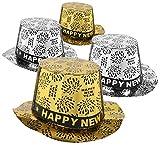 com-four® 4X Silvester Partyhut - Zylinder Happy New Year für Silvester - Kopfbedeckung für Neujahrs-Party (Set07 - Zylinder)