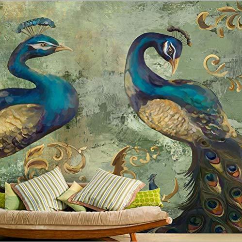 LTTGG Benutzerdefinierte 3D-Tapete Retro-Stil Pfau Hintergrund dekorative große Wand Wohnzimmer Sofa Schlafzimmer Leinwanddrucke