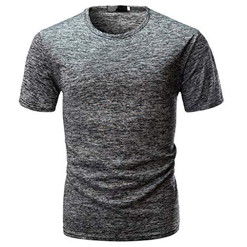 TEELONG Hemd Herren Mode Lässig Schlank Kurzarm T-Shirt -