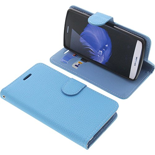 foto-kontor Tasche für TP-Link Neffos C5L Book Style hellblau Schutz Hülle Buch