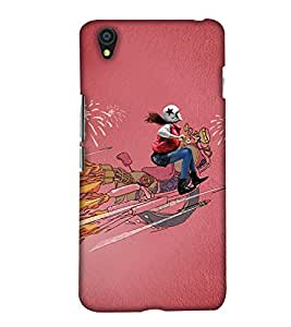 PrintHaat Designer Back Case Cover for OnePlus X :: One Plus X (dream illusion :: a girl riding dream bike on single tyre and lot of silencers throwing fire in air in pink blue and yellow)