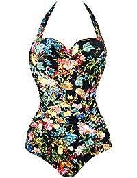 Aixy Mujer Vintage 50s Pin Up Halter Cuello Traje de Baño de una Pieza Monokinis