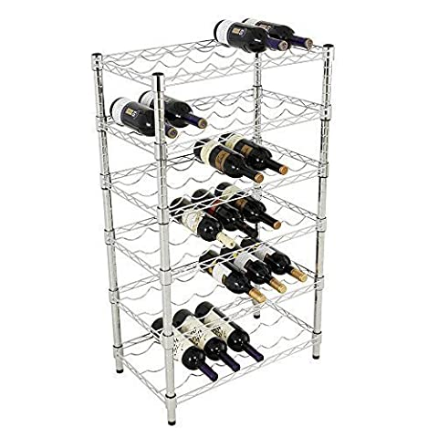 Value Home Chrome Wine Storage Rack 6 Shelving Unit -