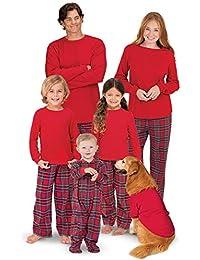 Pyjamas de Noel Famille Femme Homme Garçon Fille du Nouveau-né Bébé Ecossais Pyjamas à Deux Pièces Set Sweat-Shirt à Manches Longues Top et Pantalon Sleepwear Ensemble Tartan Style Vêtement de Nuit