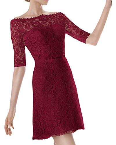Ivydressing Damen U-Ausschnitt Halb-Aermel Kurz Abendkleid Brautkleid Hochzeitskleid Weinrot