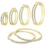 Creolen Creole Ohrring Ohrstecker Kristalle Straß silbern schwarz gold
