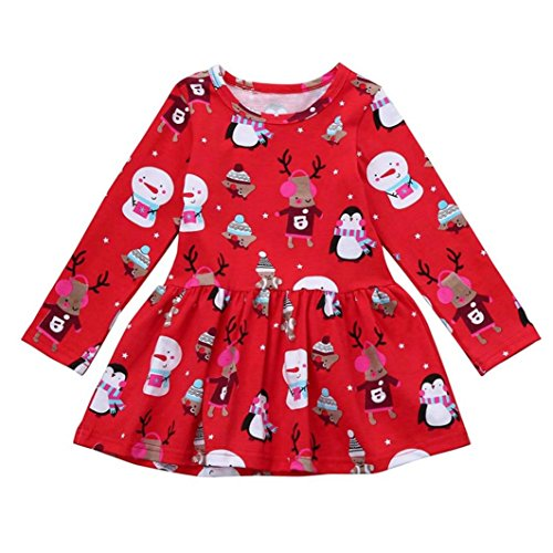 Clearance/BESTOPPEN Girls Dress Red,Baby Girl Xmas Cute