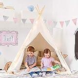 Tiny Land Tipi Spielzelt für Kinder mit Bodenmatte & Aufbewahrungstasche Baumwolle- Segeltuch Kinderzelt (Weiß 163cm Hoch)