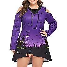 68f535387e6085 NPRADLA 2018 Herbst Winter Frauen Damen Kleider Elegant Große Größe Terror  Nacht Sky Fledermaus Schulterfrei Halloween