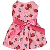 awhao Vestido de Perro Falda de Perro Paño del Verano del Perro para Niña Patrones de Fresa S