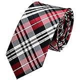 GASSANI schmale Krawatte 6cm | einfarbig fein gestreift | Herrenkrawatte zum Anzug | Schlips Binder in 19 modischen Farben, Rot / Schwarz / Weiß, 145cm x 6,5cm