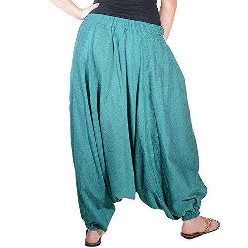 Kunst und Magie Damen Orientalische Haremshose Pumphose Shalwar Hose Muck Aladinhose Hosenrock Schwarz / Grün