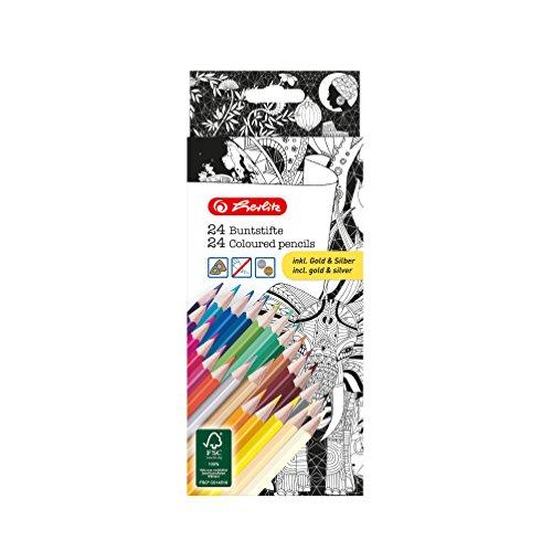 Herlitz 50007479 Dreikantbuntstifte inklusive der Farben gold und silber, lackiert, aus FSC Holz, 24 Stück