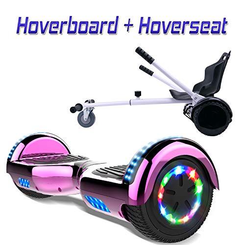 COLORWAY Hoverboard SUV 6.5 Pouces, ES09 Gyropode Tout-Terrain 700W, avec Roues LED Flash, Haut-Parleur Bluetooth et LED, Scooter Électrique Auto-équilibrage (Rose-Kart Blanc)
